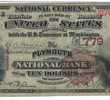 MA 1882 $10 BROWN-BACK ♚♚PLYMOUTH,MASSACHUSETTS♚ PMG CH FINE 15  VERY RARE!!