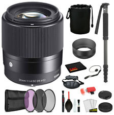 Sigma 30mm f/1.4 DC DN Contemporary Lens for Sony E Mount (302965) with Bundle