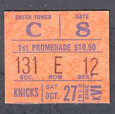 New York Knicks vs 76ers October 27 1973 Ticket Stub Knicks win