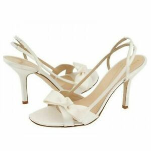 Kate Spade Sandals Heels size 10.5 White Satin Dyeable Bridal Prom Wedding New