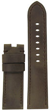24mm Panatime Brown Distressed Bomber Leather Watch Band w MS For Panerai Deploy