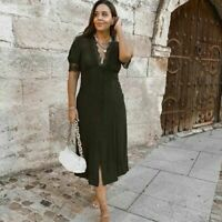 ZARA KHAKI GREEN MIDI DRESS WITH LACE TRIM SIZE L BLOGGERS FAVOURITE BNWT