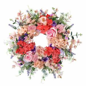 24inch Silk Flower Spring & Summer Wreath for Door & Celebration Handcraft