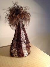 Antique Hand Made Australian Aboriginal Ceremonial Human Hair Bark & Emu Feather