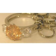 Diamond Ring Keyring with Amber Stone