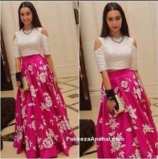 Indian Stylish Designer Bollywood Party Pink Lehenga Choli Crop TopAnarkali Suit