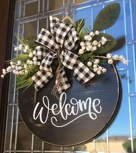 """Welcome Round Front Door Wooden Wreath Farmhouse Door Wreath Wall 18"""""""