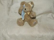 """BOYDS COLLECTION 9"""" Bear Fawn Mohair MISS YOU Blue Blankey Blanket 1988-2002"""