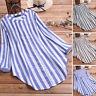 UK Women Adjustable Long Sleeve Stripe Shirt Casual Loose Button Dowm Top Blouse