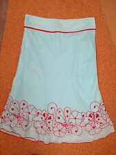 LADIES SKIRT 100% cotton lined turquoise and red flower embroidered flower UK 8