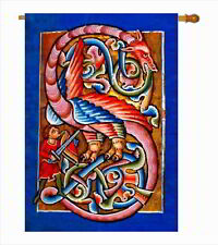 """Letter S Tudor Griffin Large Garden Flag 28"""" x 40"""" Monogram Initial House Banner"""