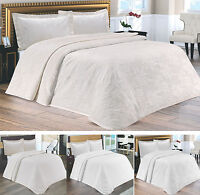 New Luxury Heavy Cotton Double Bedspread Throw - Cream or White - 3 Designs