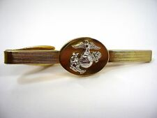 Vintage Tie Bar Clip: 1970s Marines USA Military Silver & Gold Tone