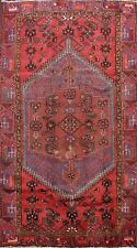 Vintage Traditional Geometric Hamedan Area Rug Wool Handmade Oriental Carpet 4x7 00000Ae3