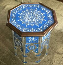Mother Of Pearl Inlay Table On Plexiglass