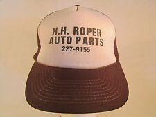 Vintage Mens Cap H H ROPER AUTO PARTS San Antonio, Texas (Brown) [Z84c]