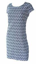New York & Company Black & White Cotton Chevron Print Dress Size Medium