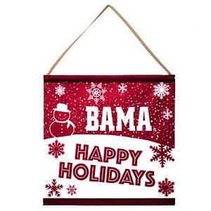 Alabama Crimson Tide Happy Holidays Banner Sign Christmas Wall Door Decoration