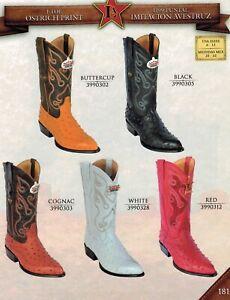 Los Altos Men's J-Toe Ostrich Print Pull Up Cowboy Western Boots