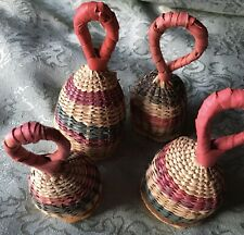 New listing Vintage Wicker Hand Bells Set Of 4 Different Sounds