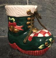 VINTAGE Christmas Large Santa Boot Planter Vase Hand Painted EXCELLENT