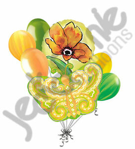 7 pc Paisley Citrus Butterfly Balloon Bouquet Decoration Baby Shower Birthday