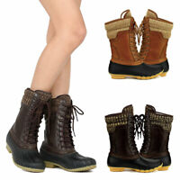 Hunter-07 Women Waterproof Warm Snow Rain Winter Mid Calf Lace Up Duck Boots