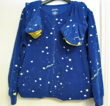 Nick Nora Footie Pajamas Blue Outer Space Stars 1 PC Footed PJs Fleece Sz M