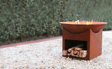 Glow Tambo Round Steel Fire Pit Decorative Outdoor Party BBQ Rust Finish Rustic