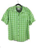 Columbia Button Down Shirt Plaid Green Outdoors Hiking Fishing Mens Size Large