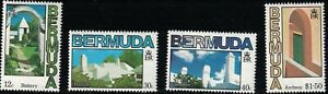 """Bermuda SC461-464 Architecture:Buttery-Rooftops-Chiminey""""s&Archway MNH 1985"""