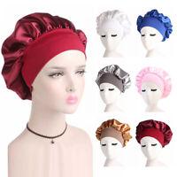 Women's Satin Solid Wide-brimmed Sleeping Hat Cap Bonnet Shower