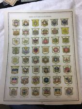 1888 Large Antique Famous Print,arms Of Various Nations ,10�x13�.gaskell's