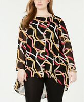 Alfani Womens PLUS Size Black Printed Overlay Top Blouse Tunic Size 4X
