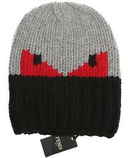 NEW FENDI ROMA CURRENT NAVY BLUE GRAY RED MONSTER EYES FUNKY WOOL HAT UNISEX