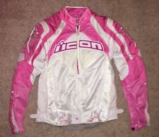 Womens Icon Contra Motorcycle Jacket, WHITE PINK Size SMALL