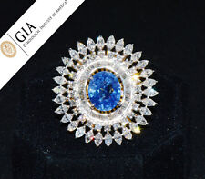 GIA Natural Huge 11.5cts UNHEATED Blue Sapphire VS F Diamond 18K Solid Gold Ring