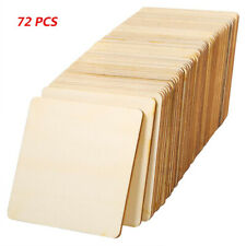 72 Pcs Unfinished Wood Pieces Square Blank Wood Natural Slices for DIY Crafts