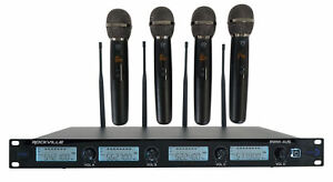 Rockville RWM-4US Quad Wireless UHF 4 Microphone System w/Adjustable Frequency