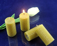 Hand-Rolled 100% natural beeswax candle with