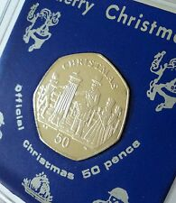 2001 Isle of Man Christmas Victorian Post Box 50p Coin (BU) Gift in Display Case