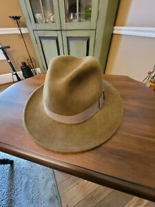 Stetson Crushable 100% Wool Fedora Hat Size L brown Made in USA water repellent