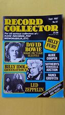 Record Collector music magazine Bowie Billy Idol Fury Led September 1987 SUPERB