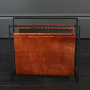 Leather Magazine Rack Tan and Black Frame House Soho Furniture