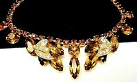 "Rare Vintage 16x1"" Signed Weiss Goldtone Amber Clear Rhinestone Necklace A55"