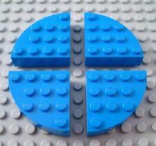 LEGO Lot of 4 Blue 4x4 Quarter Round Brick Pieces
