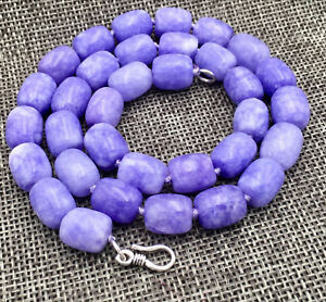 """New 8x12MM Nature Lavender jade GEMS BEADS NECKLACE 18"""" 925 silver Clasp"""