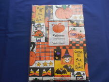 """Vintage Halloween Vinyl Flannel Back Tablecloth 52"""" Square Come In for a Spell"""