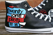 TWENTY ONE PILOTS INSPIRED CUSTOM HAND PAINTED HIGH TOPS MADE TO ORDER
