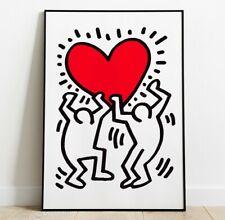 Keith Haring Art Print, Keith Haring Heart Print, Wall Art, Pop Art